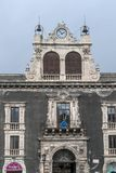 Palazzo Tezzano, mooi paleis in het historische centrum van Catanië, Sicilië, Italië royalty-vrije stock foto's