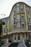 Palazzo Ungheria Ausonia dell'hotel con il suo esterno altamente decorativo nel cuore dell'isola del lido Fotografie Stock