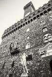 Palazzo Vecchio和米开朗基罗` s大卫雕象,佛罗伦萨,颜色 免版税图库摄影