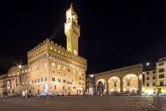 Palazzo Vecchio在佛罗伦萨在晚上,意大利 库存图片