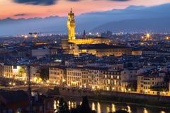 Palazzo Vecchio在佛罗伦萨在晚上,意大利 库存照片