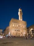 Palazzo Vecchio在佛罗伦萨在晚上 库存照片