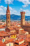 palazzo vecchio塔在佛罗伦萨顶视图的 免版税库存照片