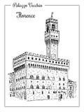 Palazzo Vecchio或Palazzo della Signoria在佛罗伦萨,意大利 库存图片