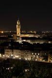 Palazzo Vecchio,佛罗伦萨,意大利夜视图  免版税库存照片
