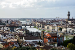Palazzo Vecchio, ποταμός Arno, Ponte Vecchio, Φλωρεντία Στοκ Εικόνες