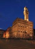 Palazzo vecchio. On piazza della signora in Florence at night, Italy stock photos