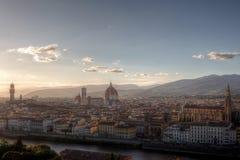 Palazzo Vecchio Duomo Cathedrale di Basilika di Santa Maria del Fiore, Florence, Firenze, Tuscany, Italien Royaltyfria Bilder