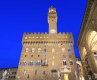 Palazzo Vecchio at dusk, Florence Stock Photos