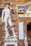 Palazzo Vecchio e estátua de David Fotografia de Stock Royalty Free