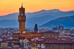 Palazzo Vecchio et coucher du soleil Photos libres de droits