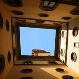 Palazzo Vecchio, Firenze, Italia Vecchio cielo dell'ossatura muraria della città Immagini Stock Libere da Diritti