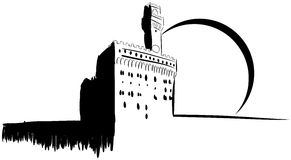 Palazzo Vecchio in Florence in black isolated Stock Images
