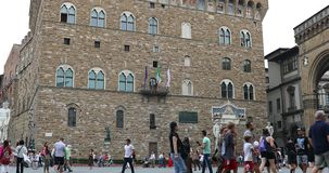 The Palazzo Vecchio In Florence. Florence, Italy - August 31, 2019: Historic Building Facade Of The Palazzo Vecchio Old Palace On The Piazza Della Signoria In stock video