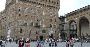 Palazzo Vecchio. Florence, Italy - August 31, 2019: The Palazzo Vecchio Old Palace On The Piazza Della Signoria In Florence, Italy, Tuscany Region, Europe - DCi stock footage