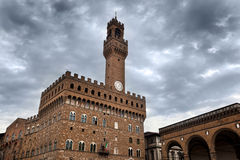 Palazzo Vecchio in Florence, Italy on a cloudy day Stock Images