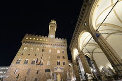 Palazzo Vecchio Florence Italy at night Stock Photography