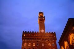 Palazzo Vecchio and Loggia de Lanzi by night Royalty Free Stock Photo
