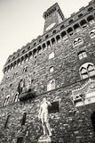 Palazzo Vecchio and Michelangelo`s David statue, Florence, color Royalty Free Stock Photography