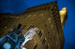 The Palazzo Vecchio at night in Florence, Italy. Stock Images