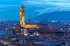 Palazzo Vecchio på skymning i Florence, Italien Royaltyfria Bilder