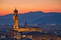 Palazzo Vecchio & por do sol fotos de stock
