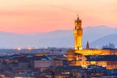 Palazzo Vecchio at sunset in Florence, Italy Stock Image