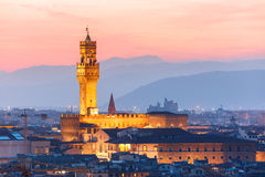 Palazzo Vecchio at sunset in Florence, Italy Stock Images