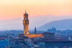 Palazzo Vecchio at sunset in Florence, Italy Royalty Free Stock Photo
