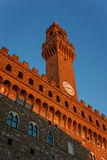 Palazzo Vecchio tower in the evening sun Florence. The Palazzo Vecchio tower in a lovely evening sun of Florence Royalty Free Stock Image