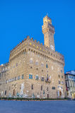 The Palazzo Vecchio, town hall of Florence, Italy. The Palazzo Vecchio (Old Palace) a massive, Romanesque, crenellated fortress-palace, is the town hall of Stock Image