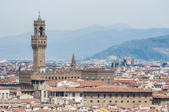 Palazzo Vecchio, the town hall of Florence, Italy. The Palazzo Vecchio (Old Palace) a massive, Romanesque, crenellated fortress-palace, is the town hall of Stock Image
