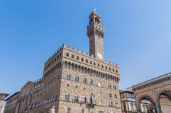 The Palazzo Vecchio, the town hall of Florence, Italy. The Palazzo Vecchio (Old Palace) a massive, Romanesque, crenellated fortress-palace, is the town hall of Royalty Free Stock Image