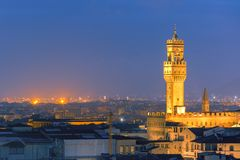 Palazzo Vecchio at twilight in Florence, Italy Stock Images