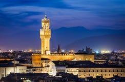 Palazzo Vecchio twilight, Florence, Italy. Tuscany. Night cityscape of Florence with Palazzo Vecchio (Signoria) illuminated at twilight royalty free stock image