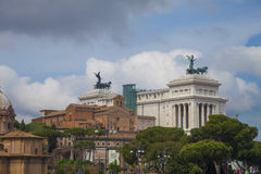 Palazzo Venezia  and the Church in St. Mark in Rome Royalty Free Stock Photo