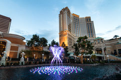 Palazzohotel en Casino bij zonsondergang - Las Vegas, Nevada, de V.S. stock fotografie