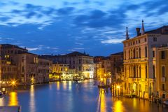 Palazzos on the Grand Canal, Venice, Italy at night during blue Royalty Free Stock Image