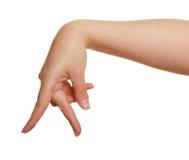 Palce kobiety ręka na białym tle zdjęcie stock