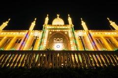 Palácio de Nimb na noite, em jardins de Tivoli, em Copenhaga, Dinamarca Foto de Stock Royalty Free