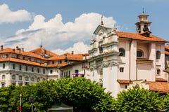 Palácio e igreja de Baoque em Isola Bella, lago Maggiore, Itlay Fotos de Stock