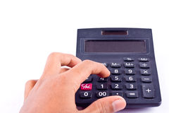 Palcowa ręka stawiający stary pyłu guzika kalkulator dla kalkulować liczby rozlicza księgowości pracę na białym b i biznes mocno Zdjęcia Royalty Free