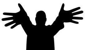 palcowe ręki silhouette szerokiego Zdjęcia Stock