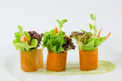 Palcowego jedzenia marchwiana sałatkowa rolka Fotografia Royalty Free