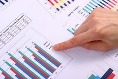Palcowego seansu pieniężny wykres, biznesowy pojęcie obraz stock