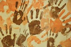 Palcowi farby ręki druki Obrazy Stock
