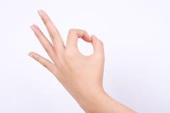 Palcowi ręka symbole odizolowywali pojęcie rękę gestykuluje szyldowego ok ok one zgadzają się na białym tle Fotografia Stock