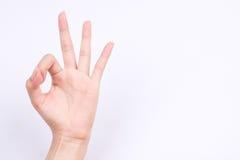 Palcowi ręka symbole odizolowywali pojęcie rękę gestykuluje szyldowego ok ok one zgadzają się na białym tle Obraz Stock