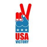 Palcowy zwycięstwo usa Ameryka wygrany ręka Symbol usa patriota ame Fotografia Stock