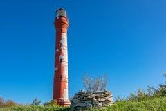 Paldiski lighthouse. Estonia. Red lighthouse of Paldiski. Pakri peninsula, Baltic sea, Estonia Stock Images